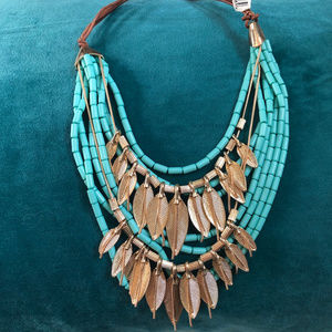 Turquoise gold leaf layered necklace